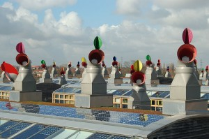 BedZED (Beddington Zero Energy Development), the UK's largest and first carbon-neutral eco-community: the distinctive roofscape with solar panels and passive ventilation chimneys