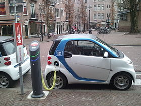 Smart electric drive charging at an on-street station in the Netherlands