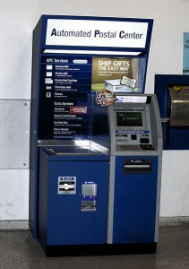 A 24-hour Automated Postal Center kiosk inside the Webster, Texas Main Post Office.