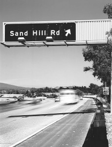 A highway exit for Sand Hill Road in Menlo Park, California, where many Bay Area venture capital firms are based