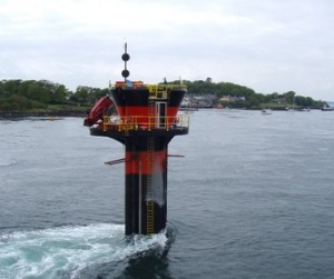 The world's first commercial[33] tidal stream generator – SeaGen – in Strangford Lough. The strong wake shows the power in the tidal current.