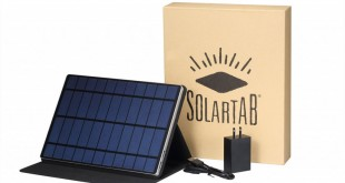 Solartab allows people to charge their cell phones/tablets in an environmentally friendly way. Photo Source: http://www.heldth.com/22006-solartab