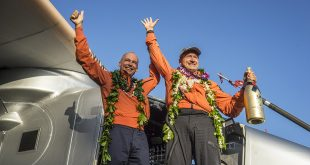 Solar Impulse 2 Reaches Hawaii on Longest Flight Yet. (Image from http://www.solarimpulse.com/leg-8-from-Nagoya-to-Hawaii)