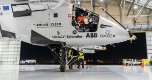 Solar Impulse 2 Completes Twelfth Leg of Round-the-World Journey (Image from http://www.solarimpulse.com/leg-12-from-Tulsa-to-Dayton/logbook-roll_out_starts_the_clean_tech_show)